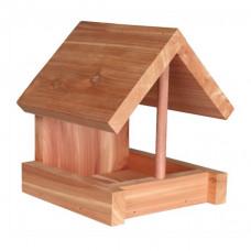 Fågelmatare för väggmontering i cedarträ - 16x15x13 cm